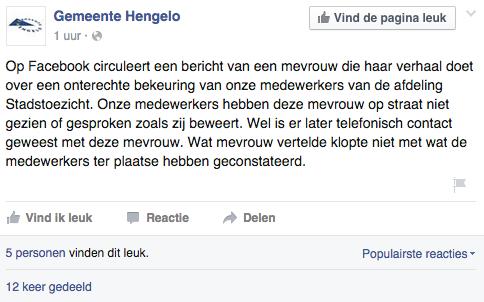 Beeldcitaat Facebook Gemeente Hengelo