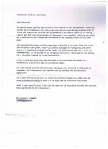 De brief die de vrouwen  niet hebben gekregen, aldus de gemeente.