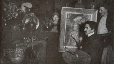 Piet Mondriaan schilderend in zijn atelier