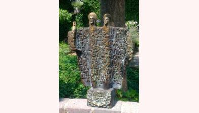 Koperen sculptuur Cyrille en Methode.