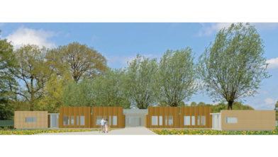 De entree van de nieuw te bouwen zorgvilla 'In de Luwte'.
