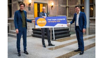 Julius Terpstra (CDA), Daniel Koerhuis (VVD) en Karsten Klein, directeur belangenbehartiging Vereniging Eigen Huis.