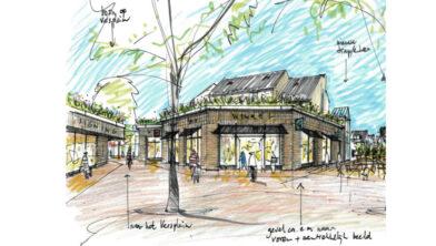 Impressie van het vernieuwde winkelcentrum De Enk gezien vanaf het Pauwenplein.