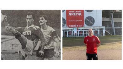 Detlef le Grand vroeger als DVS-speler en tegenwoordig als trainer bij Ajax Zaterdag.