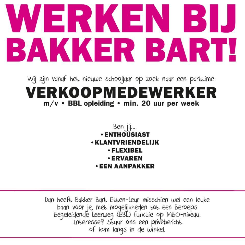 Vacatures Etten Leur.Vacature Verkoopmedewerker Bij Bakker Bart