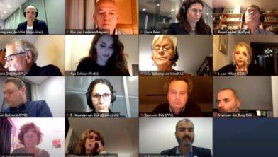 Screenshot online vergadering gemeenteraad