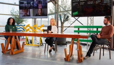 Nadia Zerouali, Marieke Eyskoot en Joris Lohman bij Flevo Campus Live in de Village
