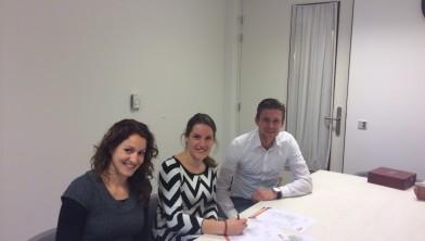 v.l.n.r. Ellen Jansen, lid sportteam GO, Linda Westerbeke, projectleider Nieuw Rijsenburgh en Mario Hofman, YALP.