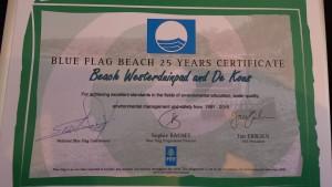 foto certificaat 25 jaar blauwe vlag