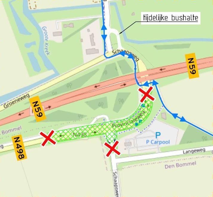 afsluiting werkzaamheden N498-Schaapsweg N59