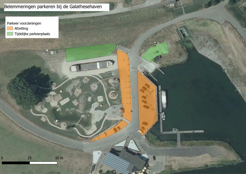 Kaart parkeergelegenheid Galathese Haven Ooltgensplaat