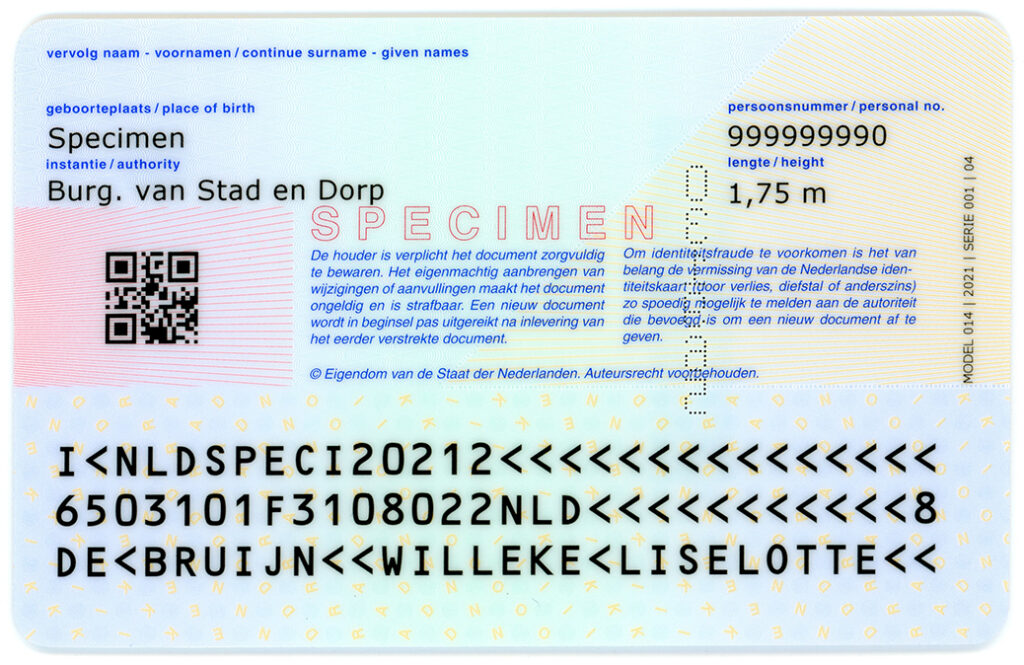 achterzijde nieuwe identiteitskaart 2021
