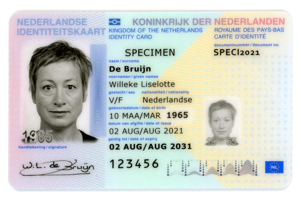 voorzijde nieuwe identiteitskaart 2021
