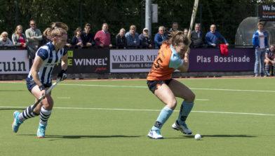 Anouk Delissen schiet op het doel van HDM.