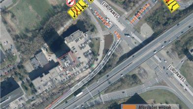 Verkeersmaatregelen op het Europaplein.