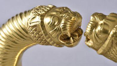 Gouden armband, 530-333 v.Chr., Hamedan (detail).