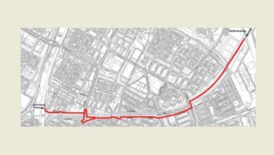 Het voorkeurstracé voor de fietsroute langs het spoor Groningen - Sauwerd.