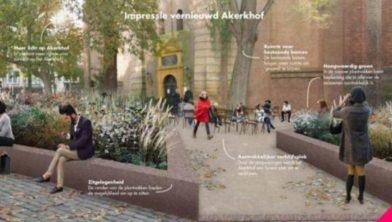 Impressie van het vernieuwde A-Kerkhof.