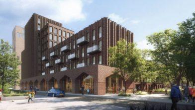 Impressie van nieuw appartementengebouw, 'Karaat'.