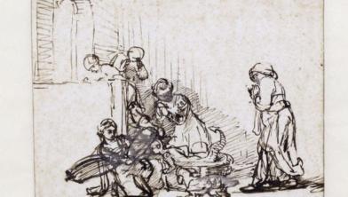 Toegeschreven aan Rembrandt, De dochters van Cecrops vinden Erichthonius, 1640-1645.