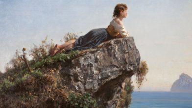 Filippo Palizz, Meisje op een rots in Sorrento detail, 1871.