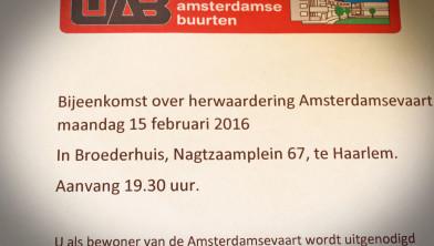 Uitnodiging voor bewoners Amsterdamsevaart.
