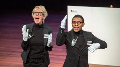 Lisa Groothof en Dwayne Toemere van de voorstelling Eitje.