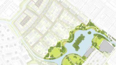 Plankaart aanleg nieuw groen park Quatrebras
