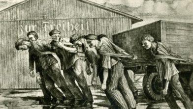 Tekening gemaakt door een Joodse jongeman in Buchenwald