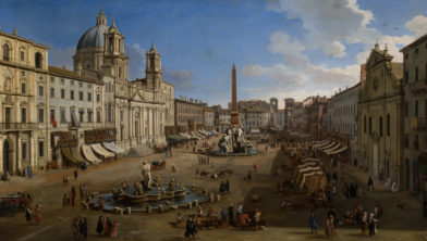 Caspar van Wittel, 'Piazza Navona, Rome', 1699, olieverf op doek, 96,5 x 212, Carmen Thyssen-Bornemisza