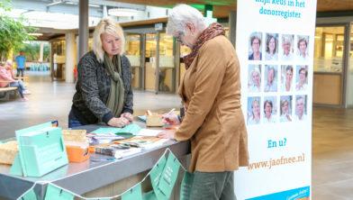 De stand in de Laan tijdens de Donorweek in 2017.