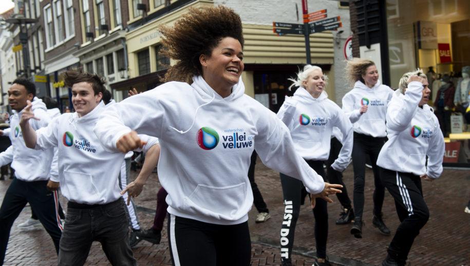 Amersfoort    Waterschap Vallei en Veluwe (in samenwerking met Tim Koldenhof Producties) met een flashmop om aandacht te vragen voor de verkiezingen.