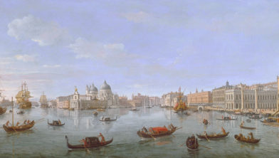 Caspar van Wittel, The Bacino di San Marco, Venice, looking west towards the mouth of the Grand Canal, oil on canvas, 56,8 x 109,2 cm, courtesy Richard Green Gallery