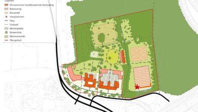 Illustratie van de toekomstvisie op de kloostergebouwen en het -gebied