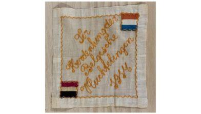 Zakdoek ter herinnering aan de Eerste Wereldoorlog uit de collectie van Museum Flehite.