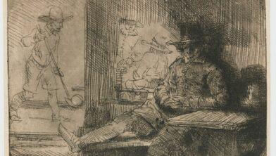 Ets van een beugelaar door Rembrandt