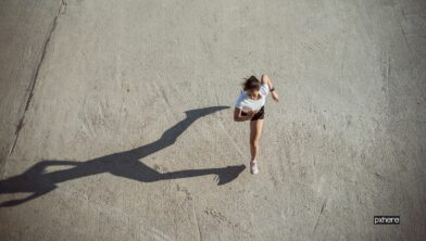 Woman runners morning exercise, top view image