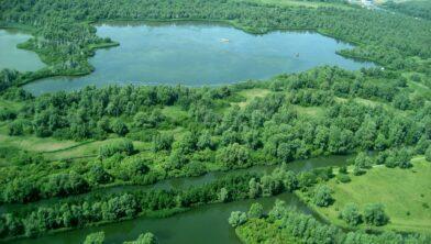 Luchtfoto van de Lepelaarsplassen, nabij Almere.
