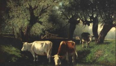 Koeien in de beek onder knotwilgen Hendrikus Alexander van Ingen