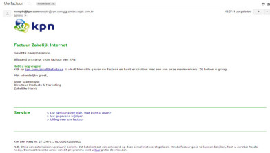 zakelijke factuur Zakelijke factuur KPN is phishing mail!