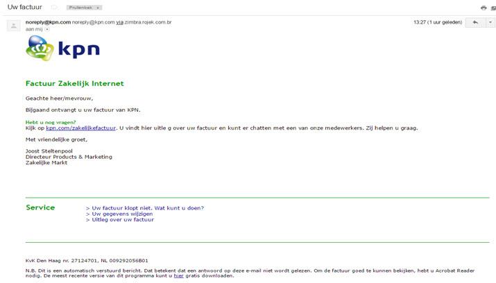 Zakelijke factuur KPN is phishing mail!