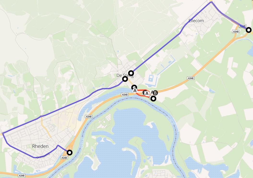 Wegafsluiting A348 - Havikerwaard De Steeg