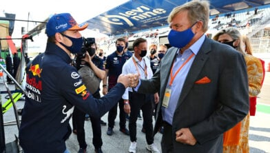 ZANDVOORT, NETHERLANDS - SEPTEMBER 05: Max Verstappen of Netherlands and Red Bull Racing meets King Willem-Alexander of the Netherlands ahead of the F1 Grand Prix of The Netherlands at Circuit Zandvoort on September 05, 2021 in Zandvoort, Netherlands. (Photo by Dan Mullan/Getty Images) //