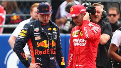 Max Verstappen en Charles Leclerc