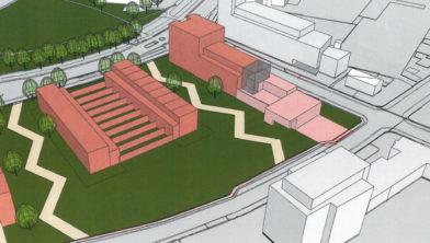 Impressie  ligging nieuwe brandweerkazerne (roze) met er naast en achter mogelijk woongebouwen
