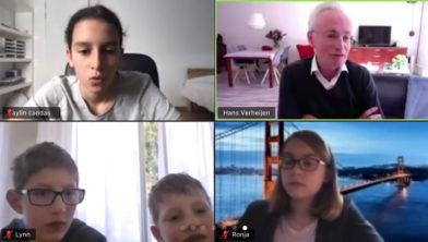 Burgemeester Hans Verheijen online in gesprek met kinderen van Petje af Zuid-Limburg