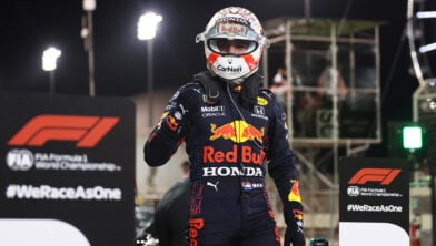 <em>Verstappen na veroveren pole position in Bahrein</em>