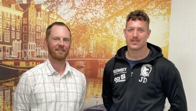 <em>Lions-coach Christoph Jauernik en Jonas Dell</em>