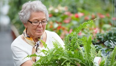 Closeup portrait of a woman wearing glasses and gardening