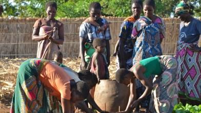 Vrouwen in het ontwikkelingsproject in dorp planten uien